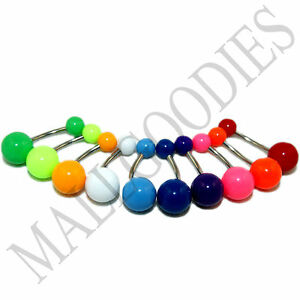 W011-Acrylic-Belly-Naval-Rings-Barbell-Plain-Colors-Pink-Teal-Turquoise-LOT-10