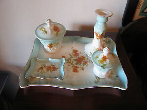 Antique-5-Piece-Porcelain-Dresser-Vanity-Tray-Set-w-Painted-Floral-Decoration