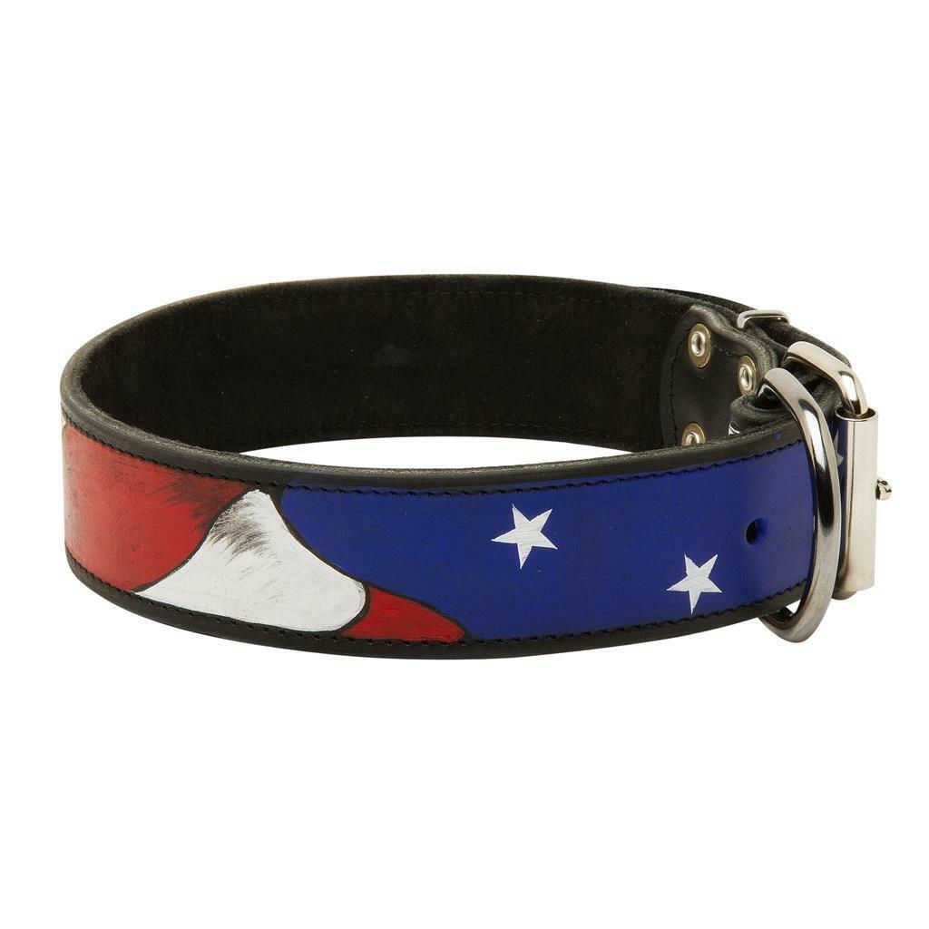 Handmade Designer Leather Dog Collar Medium Large Mastiff Bulldog Doberman Boxer
