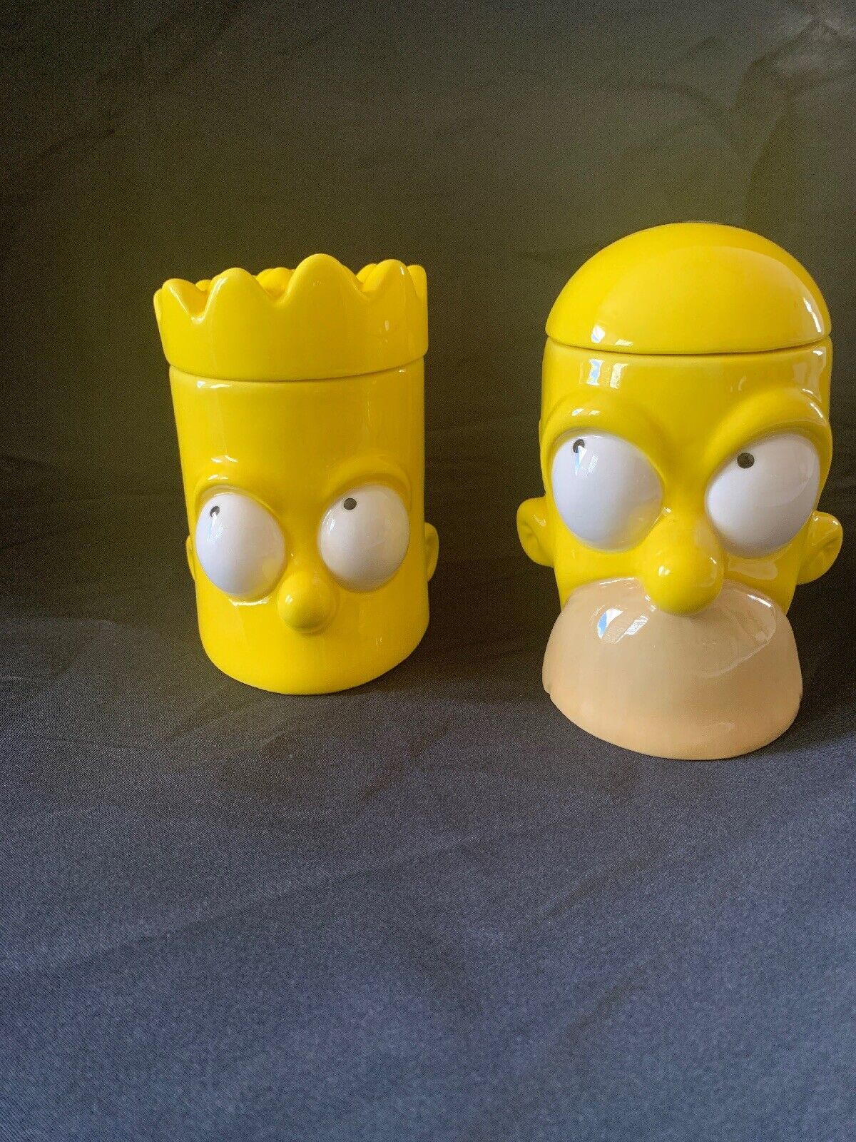 Simpsons Homer And Bart Mugs With Lids (Decorative Purposes Only) EXTREMELY RARE