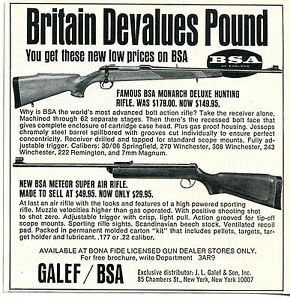 Details about 1968 small Print Ad of JL Galef BSA Monarch Deluxe & Meteor  Super Air Rifle