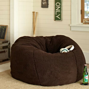 9246a9c16123 Fluffy Bean Bag Chairs for Adults Kids Sofa Couch Cover Berber ...