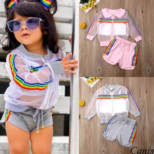 UK Toddler Kids Baby Girl Coat+Vest+Pants Outfits 3Pcs UV Sunsuit Clothes Summer