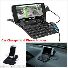 Car Holder Dashboard Stand USB Mount Charger Cradle  Soft Silicone Pad For Phone