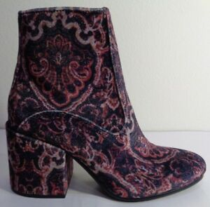 Lucky-Brand-Size-7-5-M-RAINNS-Paisly-Velvet-Heels-Ankle-Boots-New-Womens-Shoes