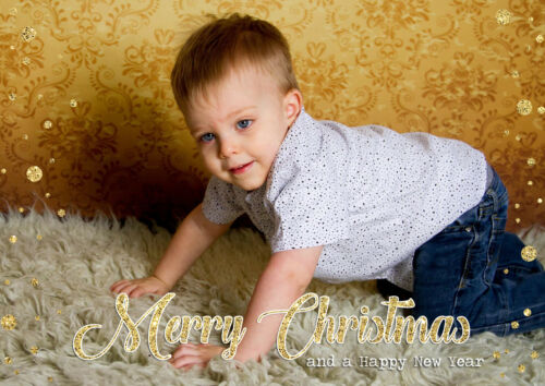 10 Personalised Christmas Photo Greeting Cards Friends Family Xmas Full Image