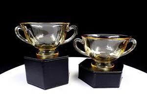 FOSTORIA-FAIRFAX-2375-TOPAZ-YELLOW-2-PIECE-2-3-8-034-BOUILLON-CUPS
