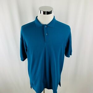 Vtg-80s-Levis-Mens-Large-L-Dark-Teal-S-S-Polo-Shirt