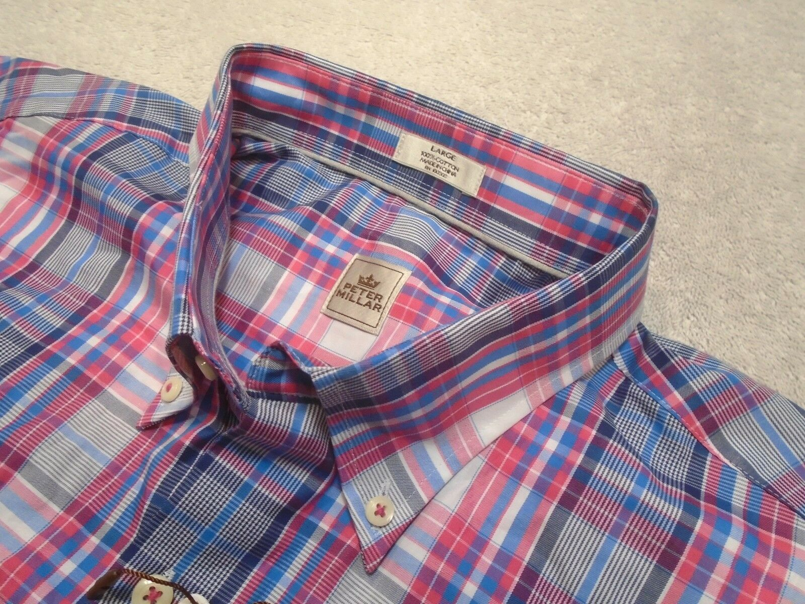 Peter Millar 100% Cotton bluee & Pink Plaid Pattern Sport Shirt NWT Large
