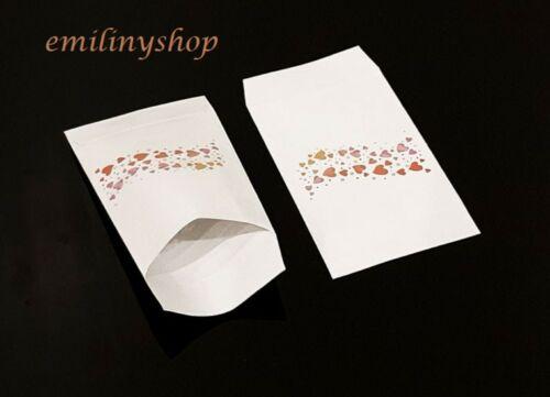 lot 50 pochettes sachets fantaisie papier 11x17 frise coeur emballage cadeaux