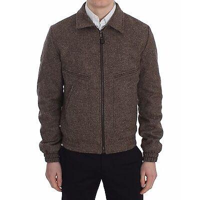 NEW $1400 DOLCE & GABBANA Jacket Brown Wool Short Coat Zipper s. IT48/ US38 / M