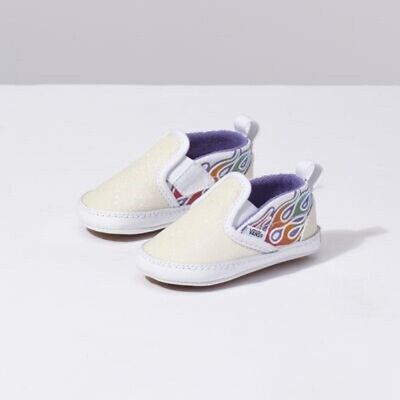 Baby Girl Infant Size 2 Vans Sneakers Slip On V Crib Sparkle Flame Rainbow Shoes Ebay Baby Girl Vans Shoes