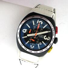 Montres De Luxe Milano Avio BK5501 Mens SS White Leather Chronograph Watch Box