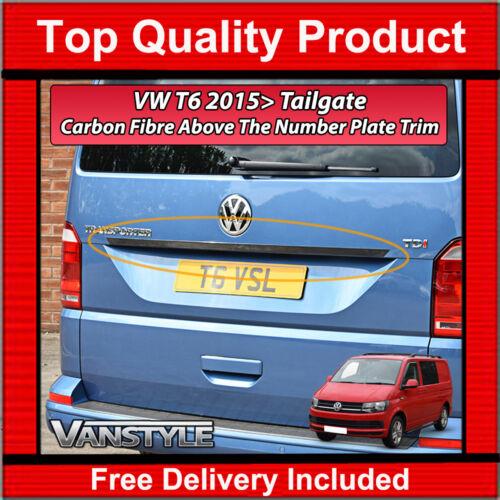 TRANSPORTER /& CARAVELLE ABOVE NUMBER PLATE CARBON FIBRE TRIM STRIP VW T6 2015