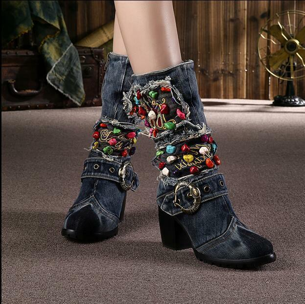 Zipper donna Denim Block High Heel scarpe Mid Calf Punk stivali Party Casual 654