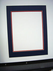 Picture Framing Double Mat 14x18 For 11x14 Blue And Red