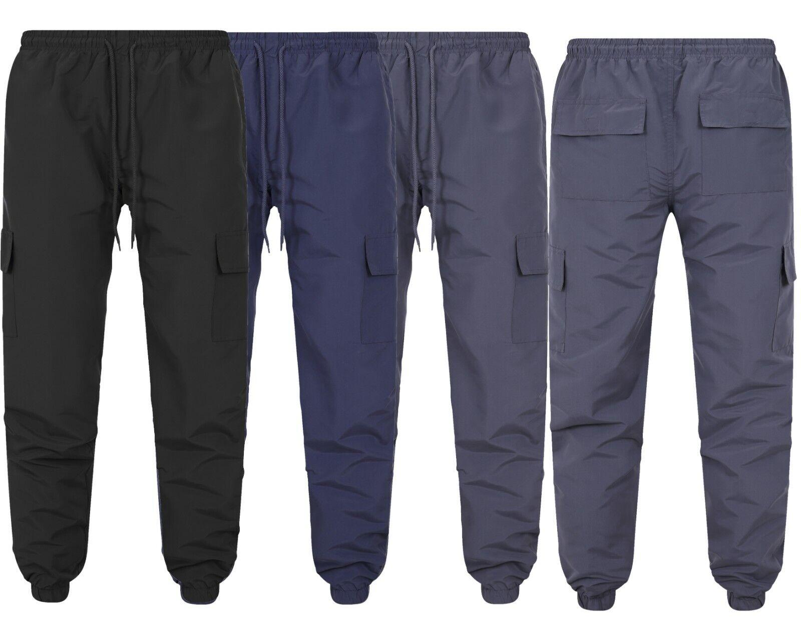 Mens Cargo Trousers Zip Pockets Jogging Bottom Sport Gym Work Wear S-2XL New