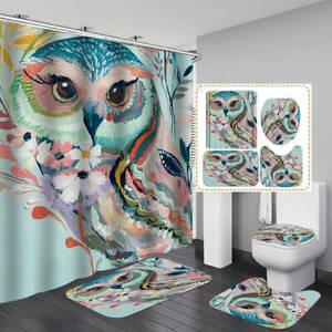 Abstract Color Art Shower Curtain Bath Mat Toilet Cover Rug Bathroom Decor