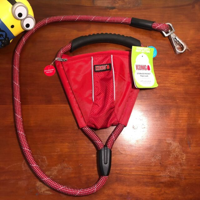 Kong Red Reflective Padded Handle Rope Leash With Storage