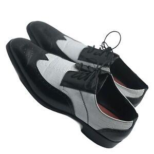 "Mens Shoes Black White Wingtip Oxford Lace Up Dress ""Pachucos""10.5"