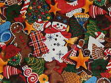 KYLE'S MARKETPLACE GINGERBREAD CHRISTMAS COOKIES cotton fabric RJR OOP RARE FQ