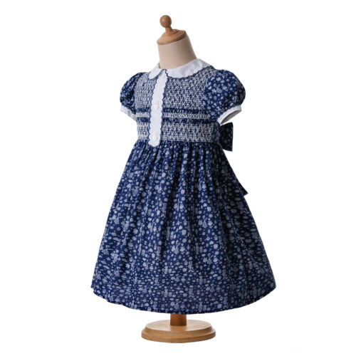 Navy Blue Girls Smocked Dress Kid Vantage Printed Communion Outfit Party Pageant