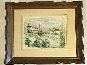 Village-scene-creek-watercolor-painting-signed-Paula-framed-in-glass