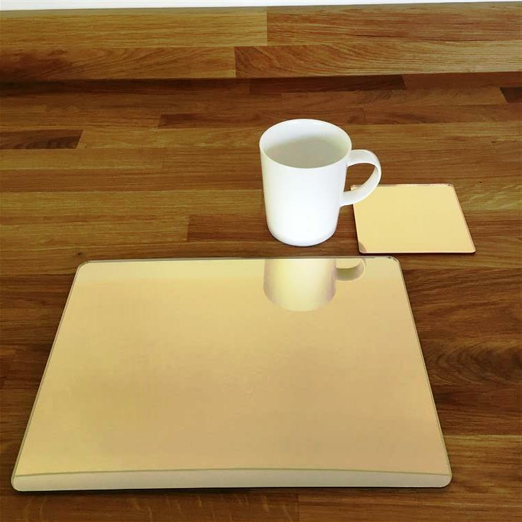 Rectangle Shaped gold Mirror Acrylic Placemats & Coasters 11.5x8.5  or 16x12