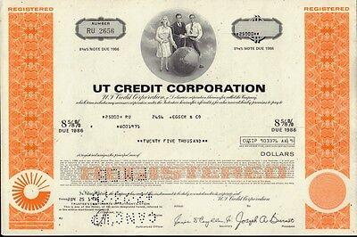 UT CREDIT CORPORATION UNITED TECHNOLOGIES    USD 25,000.00 old bond 1976