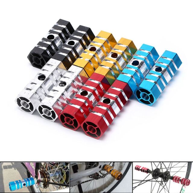 "Bike Bicycle BMX MTB Cylinder Alloy Pedal 3//8/"" Axle Foot Stunt Pegs Marketab HK"