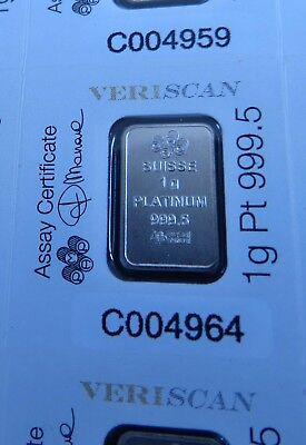 Vriendelijk Pamp Lady Fortuna 1g (1 Gram) Veriscan Fine 9995 Platinum Bullion Bar (not Gold) Prijs Blijft Stabiel