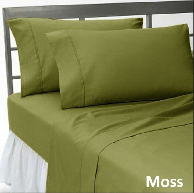 Hotel Bedding Collection 1000 TC Egyptian Cotton US Sizes Moss Solid