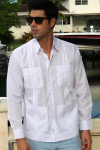 Mens-Bohio-Cotton-White-Cuban-Guayabera-Classic-4-Pkt-L-S-Shirt-S-2X-MTCG1511