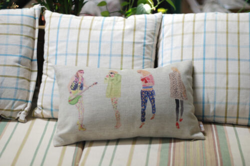 Vintage Country Colorful Musical Girls Decor LINEN CUSHION COVER PILLOW CASE