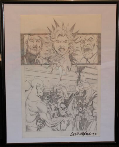 Original Art Signed by Lee Moder 1993 The Mighty Thor and Valkerie