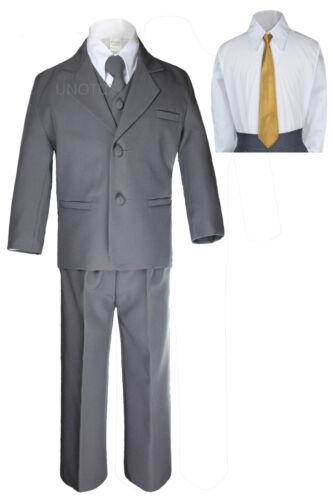 7PC Kid Teen Formal Wedding Tuxedo Boy Dark Grey Suit Extra Necktie Set sz 8-20