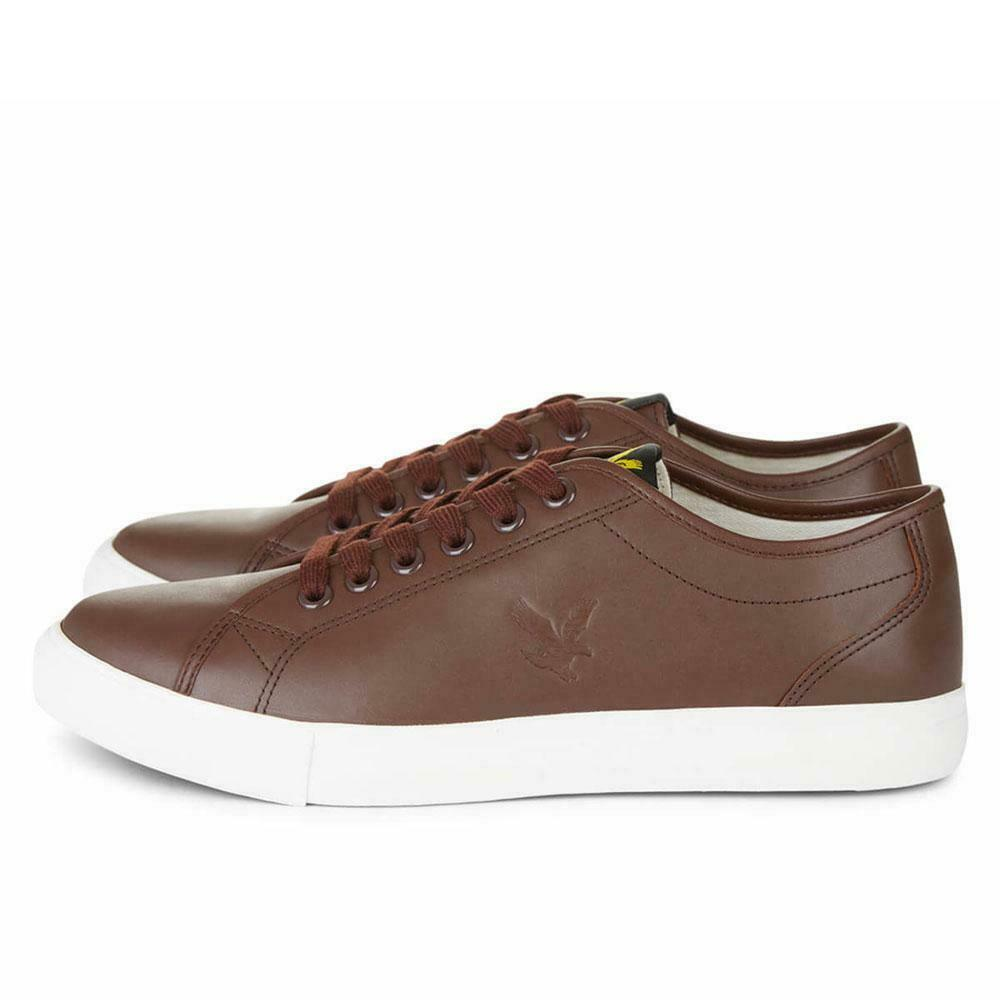 Lyle and Scott Mens Teviot Leather Trainers - braun Weiß