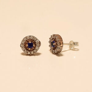 Natural-Ceylon-sapphire-Earring-Studs-925-Sterling-Silver-Turkish-2-Tone-Jewelry