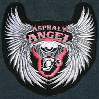 Asphalt Angel Wings Lady Biker Large Embroidered With Pink Back Patch Backpatch