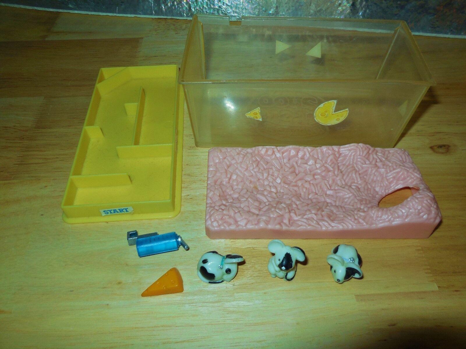 VINTAGE LITTLEST 1992 PET PRESENTS ANIMAL ITSY BITSY MICE MICE MICE CHEEZY MAZE SET LOT c2d971