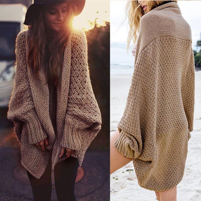 Women Oversized Batwing Sleeve Knitted Sweater Tops Loose Cardigan Coat  Outwear 1806a5682