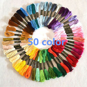 50PCS-MIXED-COLOR-COTTON-CROSS-STITCH-EMBROIDER-SKEIN-FLOSS-EMBROIDERY-THREAD