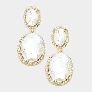 2 long double oval clear glass and gold tone chandelier earrings ebay image is loading 2 034 long double oval clear glass and aloadofball Image collections