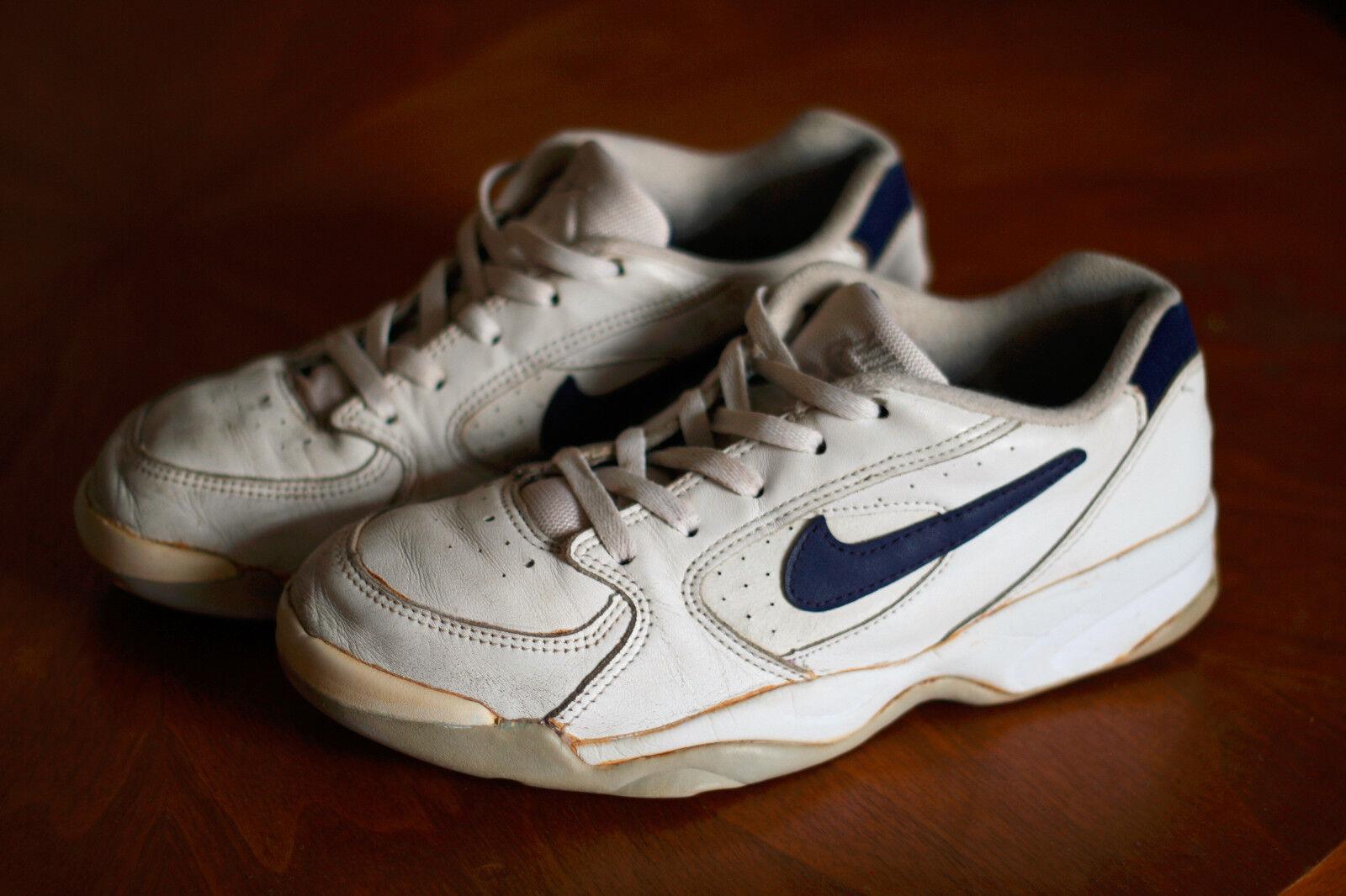 Vintage Nike Hallenschuhe Tennis Challenge Court Weiß Leder 1995 42 DRC Air 90s