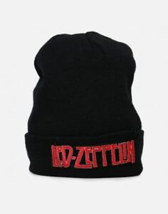 Led Zeppelin Black Retro Vintage Rock Band Logo Licensed Beanie ... e9403076e842