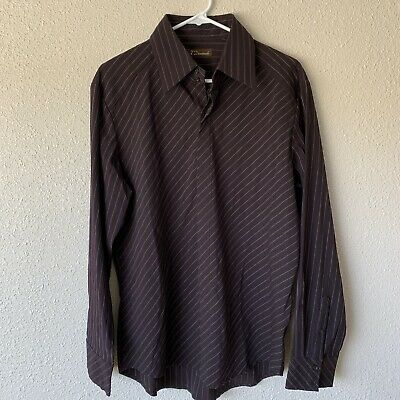 7 Diamonds Chocolate Brown Striped Long Sleeve Club Party Down Shirt Sz Large Elegant Appearance
