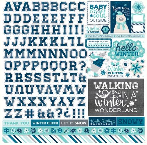 The Hello Winter Alphabet Sticker Echo Park 12x12 Sheet