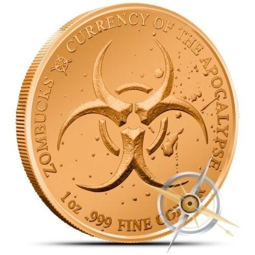 2013 MORGUE ANNE ZOMBUCKS™ COPPER BULLION 1 AVDP OZ .999 FINE COPPER ROUND Z2