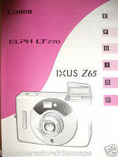 NEW CANON IXUS Z65~ELPH LT 270 FILM CAMERA INSTRUCTION MANUAL~6 LANGUAGES 3F15