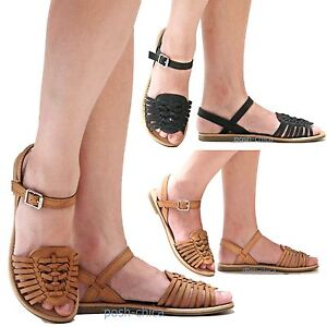 Details about New Women SMil Black Tan Woven Strappy Ankle Strap Flat  Sandals size 6 to 10